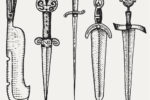 Medieval symbols big set of swords, knife and mace vintage, engraved hand drawn in sketch or wood cut style