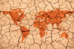 World map texture in a dried and cracked soil