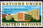United Nations stamp showing Palais des Nations, Geneva.