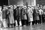 The Great Depression – Unemployed men queued outside a soup kitchen opened in Chicago by Al Capone.